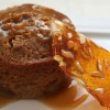 Sticky Date Puddings with Butterscotch Sauce and Almond Praline