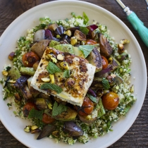 Grilled Vegetable Salad with Feta and Tabbouleh