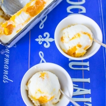 No Churn Mango and Saffron Swirl Ice Cream