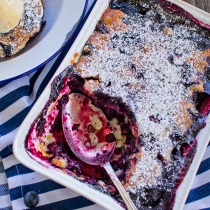 Blueberry Cobbler with No Churn Lemon Curd Ice Cream