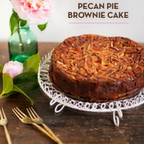 Chocolate Malt Pecan Pie Brownie Cake