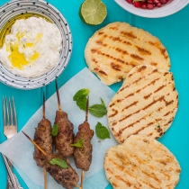Simple Dinners 14 / Lamb Skewers with Yoghurt Flatbread and Tzatziki