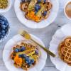 Banana Rye Waffles with Caramelised Banana and Blueberries