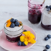 Blueberry Chia Jam and Coconut Chia Pudding