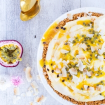 White Chocolate and Passionfruit Ice Cream Pie with Waffle Cone Crust (No Churn!)