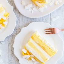Salted Coconut & Mango No Churn Ice Cream Cake