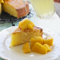 Coconut Lime Cake with Mango and Kaffir Lime Syrup