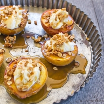 Baked Peaches with Mascarpone, Salted Caramel and Crumble