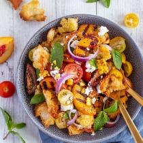 Simple Dinners 23 / Grilled Peach, Corn and Tomato Panzanella Salad