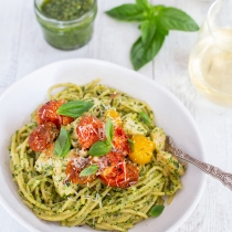 Simple Dinners 24 / Creamy Chicken Pesto with Roasted Cherry Tomatoes