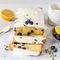 Blueberry Loaf Cake with Lemon and Thyme Glaze