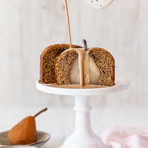 Mini Chai Poached Pear Cakes with Chai Creme Anglaise